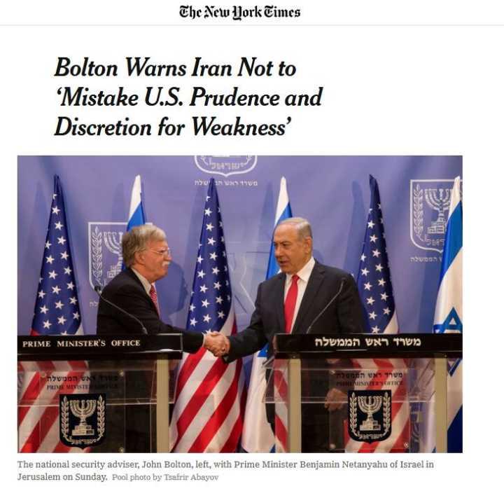 博尔顿警告伊朗:别把美国的谨慎误作脆弱