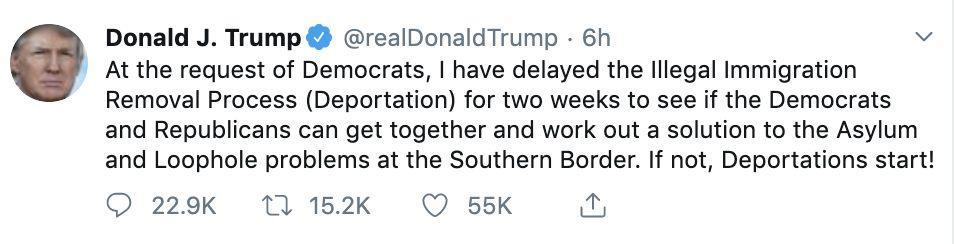 特朗普又到最后一天才宣布:推迟大年夜范围驱赶移平易近家庭行动