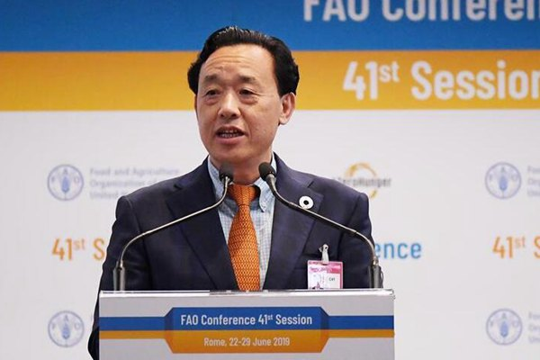 中国农业农村部副部长屈冬玉被选结合国粮农组织总干事