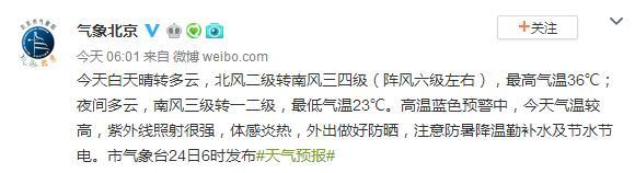 北京24日最高气温36℃ 高温蓝色预警中注意防暑