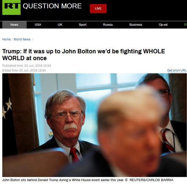 特朗普:博尔顿绝对是鹰派,若由他做主,他会挑战全世界