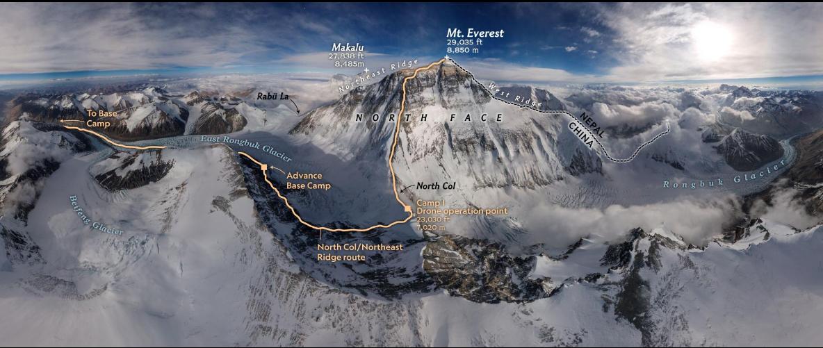 摄影师用无人机航拍出首张珠峰全景照片