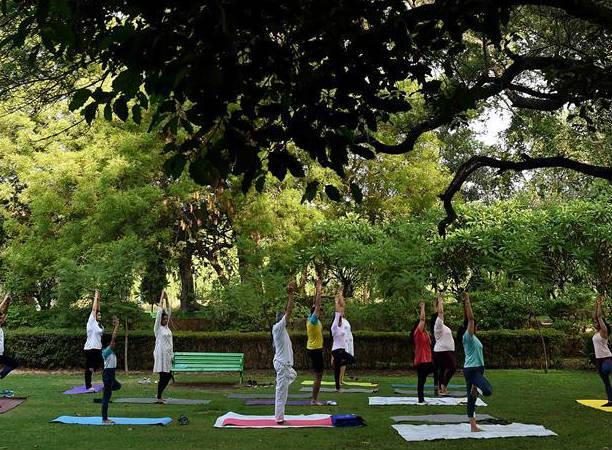 印度民众迎接国际瑜伽日