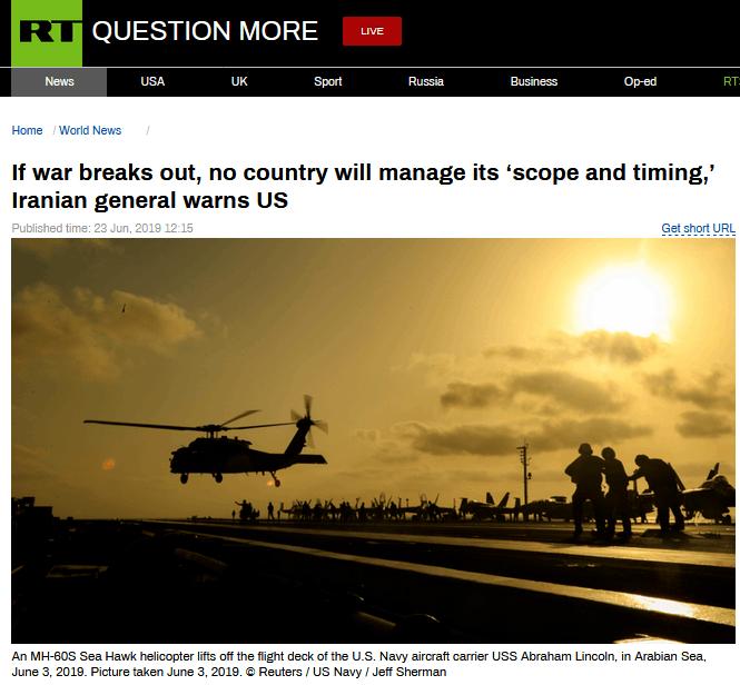 伊朗将军警告美国:若爆发战争,任何国家都无法控制范围和时间_中欧新闻_欧洲中文网