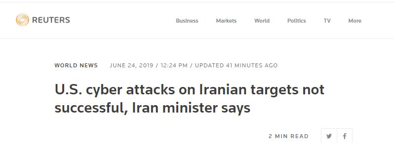 """伊朗通信部长:美国对伊朗目标的网络攻击""""没有成功""""_中欧新闻_欧洲中文网"""