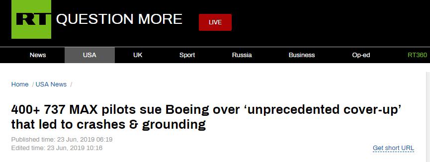 """超400名737 MAX飞行员状告波音:""""史无前例地掩盖""""设备缺陷_中欧新闻_欧洲中文网"""
