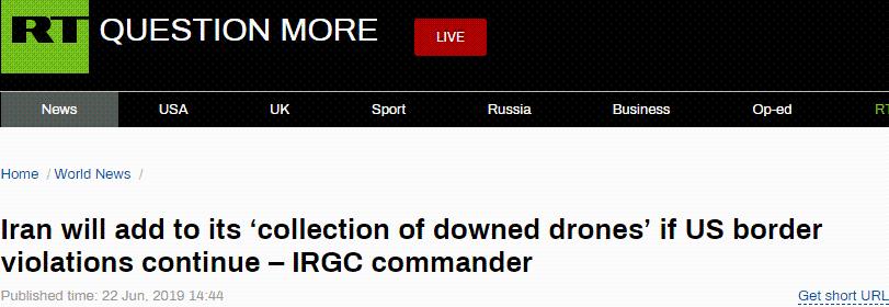 """伊朗革命卫队高官警告:击落美无人机是伊朗""""自然反应"""",再有侵犯领空""""照打不误"""""""