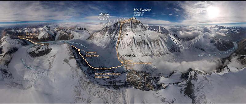 摄影师用无人机航拍出首张珠峰全景照