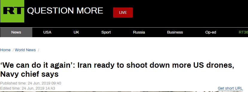 伊朗海军司令:伊朗已预备好击落更多侵犯领空的美间谍无人机