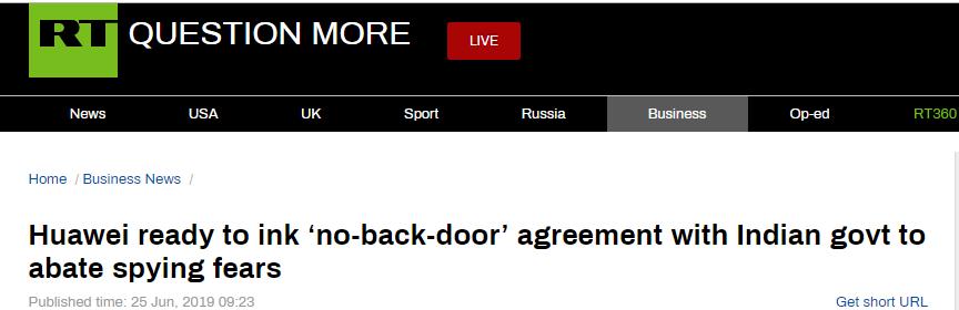 """华为主动出手!向印度当局提议签""""无后门""""协定"""