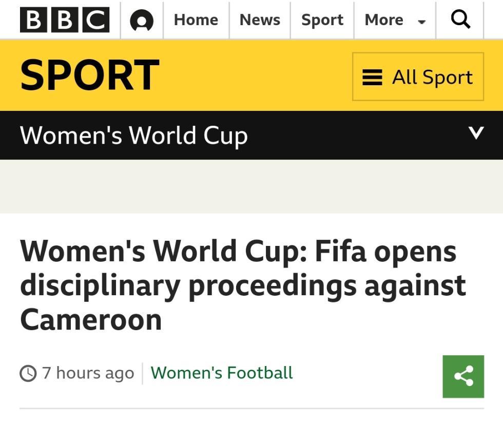 吐口水、罢赛 FIFA正式调查喀麦隆女足争议行为