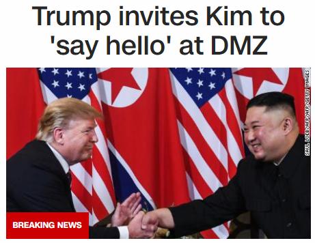 特朗普突然宣布访韩,还邀金正恩在朝韩边界见面