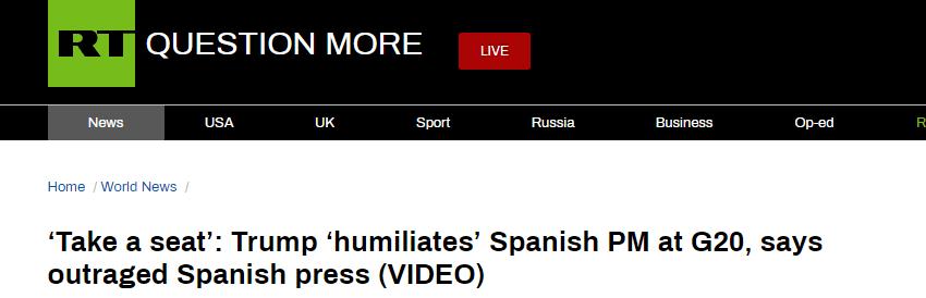 """特朗普手指座位被俄媒批""""侮辱"""",西班牙媒体也炸锅"""