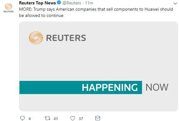 【1号站平台】快讯!特朗普称美国公司可继续向华为出售零件