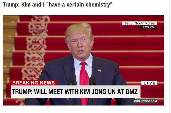 """特朗普:我和金正恩之间有某种""""化学反应"""""""