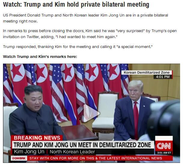 美媒:特朗普与金正恩举行私人双边会谈