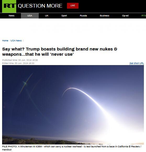 特朗普吹嘘升级核武器:我可不想用,但我们的最多最好