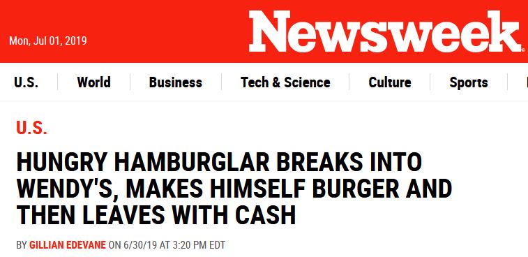 """美""""神偷""""进餐厅偷窃却不忘给自己做汉堡,网友:速度比真员工还快"""