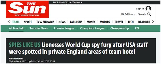 """女足世界杯""""间谍门""""?美国队工作人员擅闯英格兰队私人区域""""被抓包"""""""