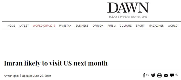 消息人士:巴基斯坦总理可能于7月初访美