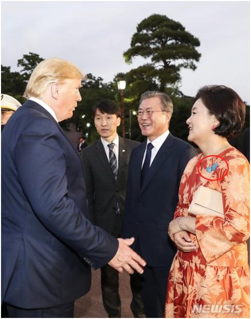 """当着美国总统面""""反萨德""""?韩国第一夫人的胸针引关注"""