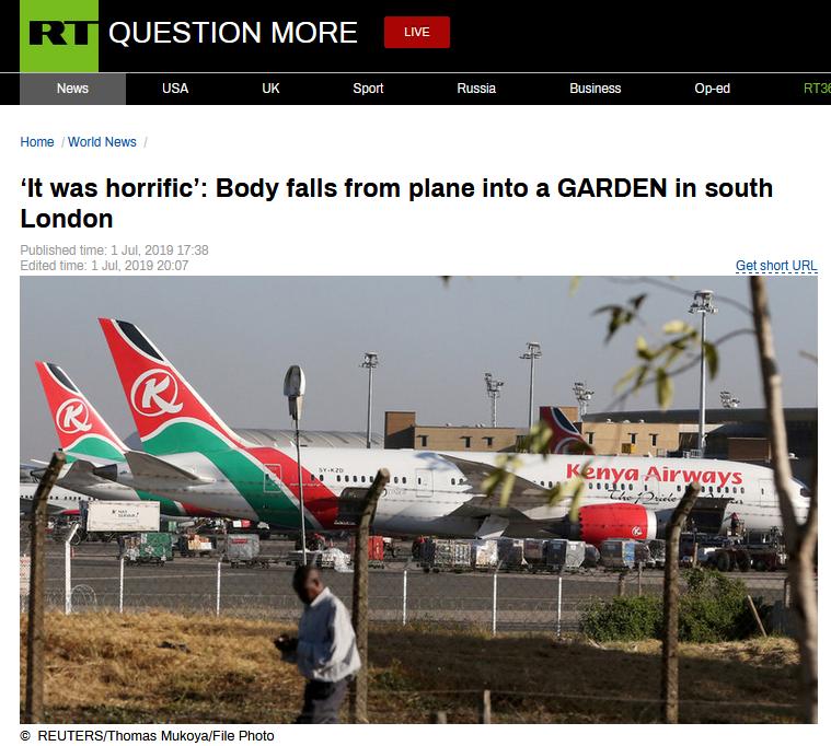 令人惊恐!从肯尼亚飞往伦敦的飞机上,突然掉下来一个人
