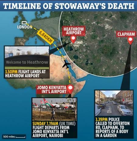 令人惊恐!飞机上掉落一人 偷渡者从3500英尺高空坠下脸先着地