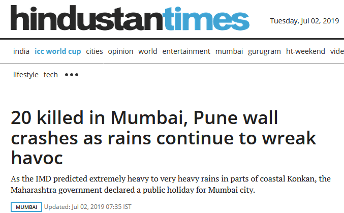 不止热浪还有暴雨!印度大雨致墙体倒塌,孟买浦那至