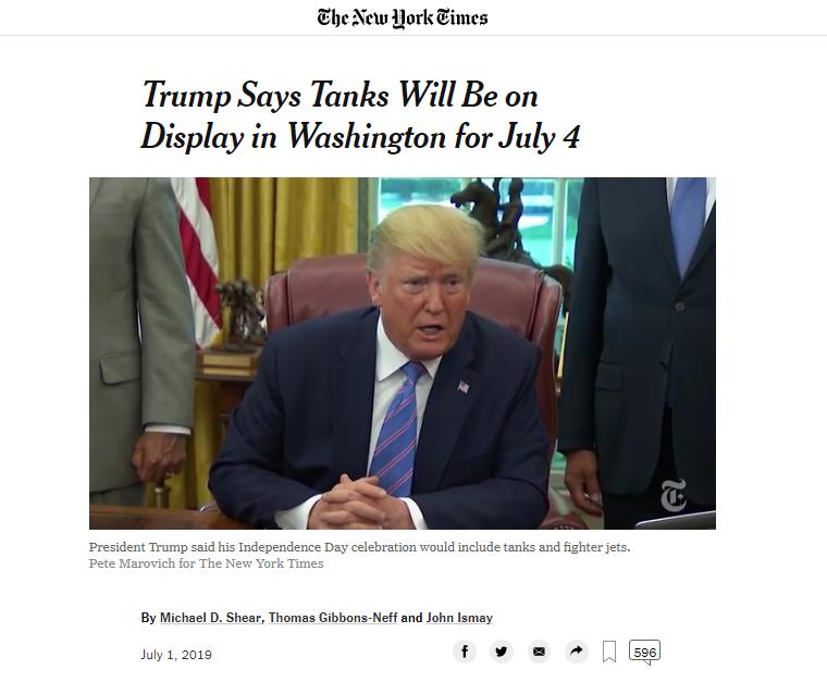 """""""阅兵梦""""终实现?特朗普:7月4日独立日将出动战机和坦克"""