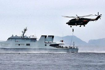 驻香港部队组织联合海空巡逻演练