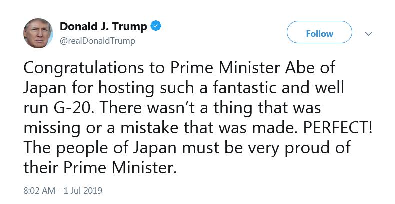 反射弧真长!G20结束几天了,特朗普安倍刚刚还在推特上互夸
