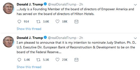 刚刚,特朗普在推特上宣布美联储两项任命