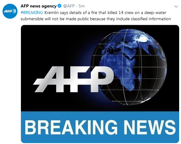 克里姆林宫:不会披露致14死深潜器火灾细节,因包含机密信息