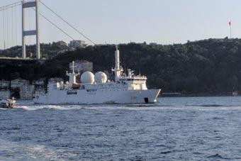 法国海军间谍船驶入黑海 舰体布满雷达天线