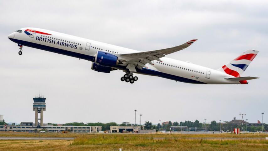 英国航空首架空客A350-1000法国图卢兹试飞