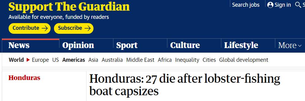 洪都拉斯一龙虾捕捞船倾覆,已致至少27人死亡