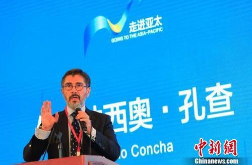 中国侨网智利驻上海总领事伊克纳希奥·孔查发表演讲。 殷立勤 摄