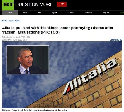 """""""黑脸""""扮奥巴马涉嫌种族歧视?意大利航空撤下争议广告并道歉"""