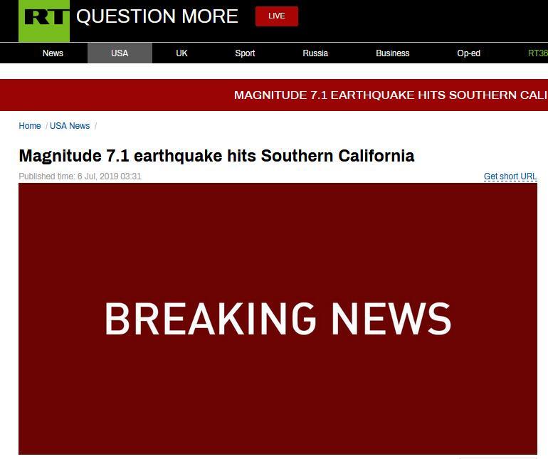 快讯!美国加利福尼亚州南部发生7.1级地震