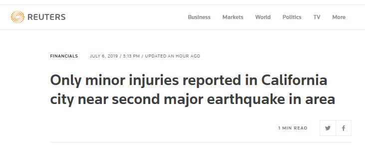 快訊!美國加州南部7.1級強震后,警方稱尚未收到嚴重傷亡報告