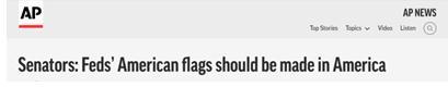 """美议员提案:政府采购的美国国旗必须得100%""""纯""""美国制造"""