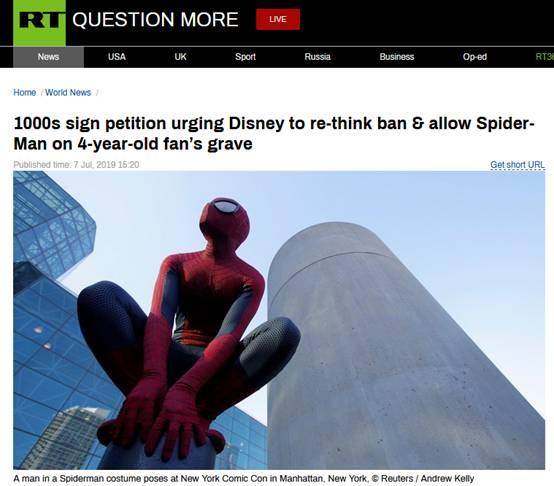 英男子欲给儿子墓碑刻蜘蛛侠却遭迪士尼拒绝,数千人请愿望迪士尼重新考虑