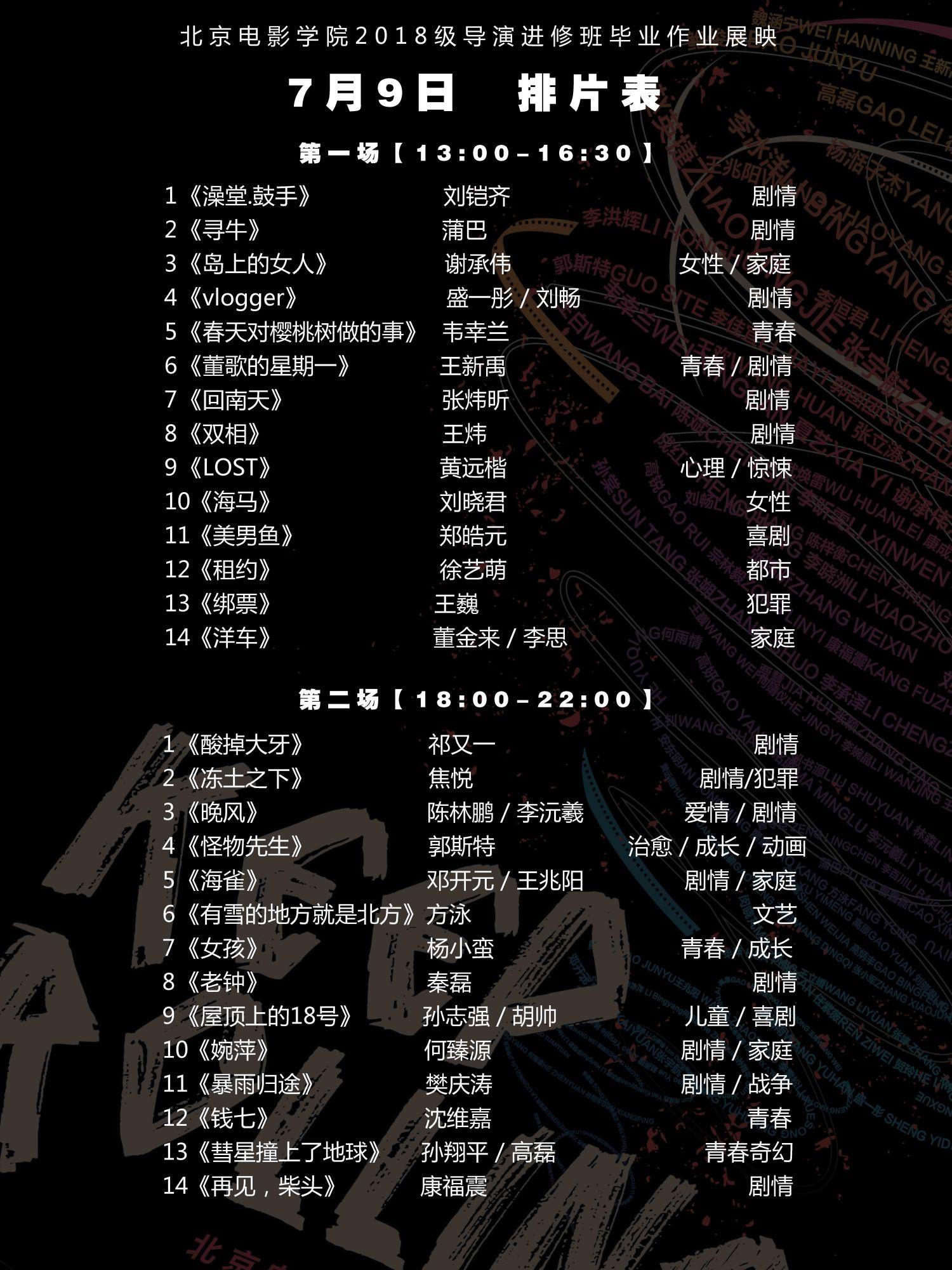 北京电影学院2018级导演进修班毕业展映开幕在即