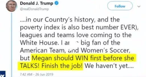 美国女足夺冠,把特朗普逼到墙角了