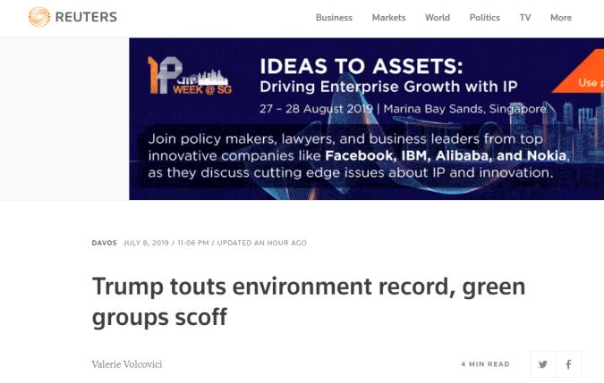 特朗普宣扬环保政绩,环保组织:纯粹幻想
