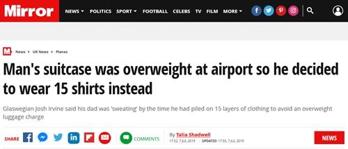 """一口气套15件衣服!为节省托运费用,男子在机场紧急""""处理""""超重行李箱"""