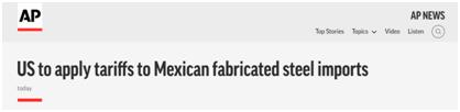美国商务部发布声明,宣布再对墨西哥钢制品加征关税