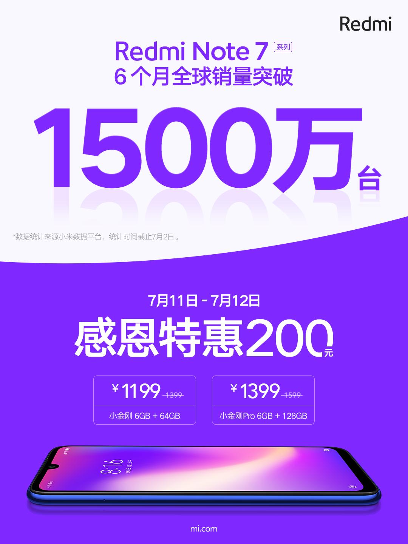Redmi Note 7系列销量破1500万台 官方推限时闪降