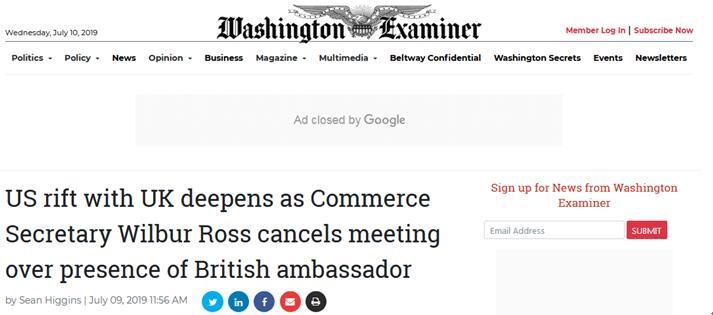 英大使骂特朗普事件升级!这一会议突然被取消