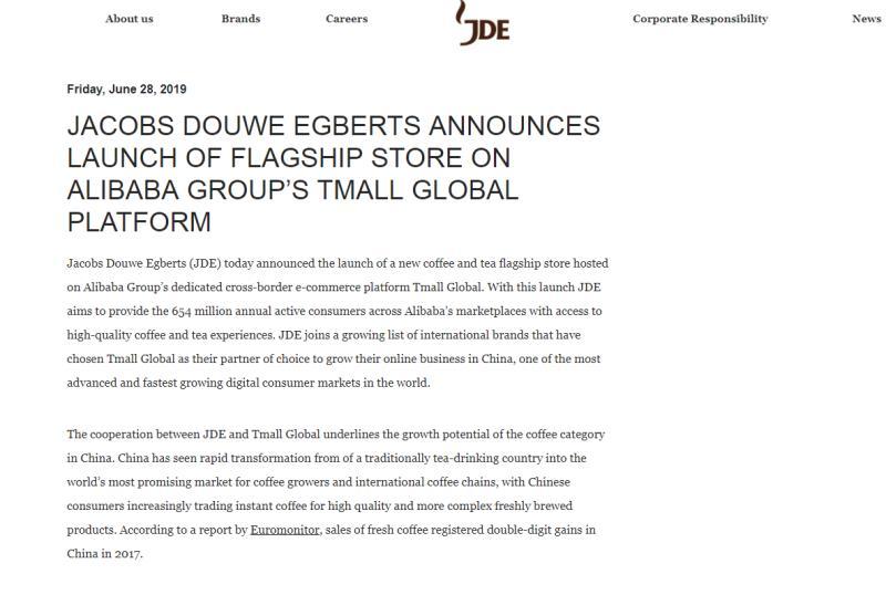 小欣月(席梦思三个字源于什么)全球第二大咖啡公司JDE发力中国市场 麦斯威尔东山再起